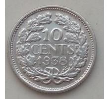 Нидерланды 10 центов 1938 серебро