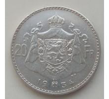Бельгия 20 франков 1934 серебро