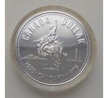 Канада 1 доллар 1975. 100 лет городу Калгари серебро