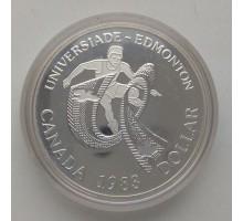Канада 1 доллар 1983. XII Универсиада в Эдмонтоне серебро