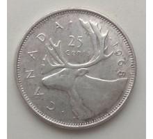 Канада 25 центов 1968 серебро