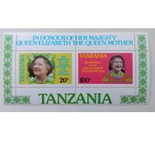 Танзания блок 1985. 85 лет королеве Елизвете II (Б085)